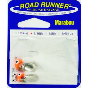 Road Runner Marabou Panfish Jig Lure 1/16 oz 2/pk - Fluorescent Red/White