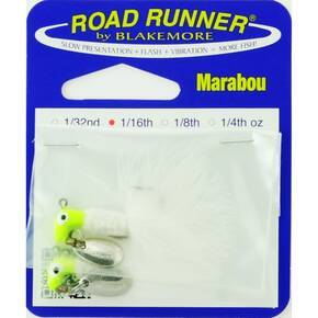 Road Runner Marabou Panfish Jig Lure 1/16 oz 2/pk - Chartreuse/White