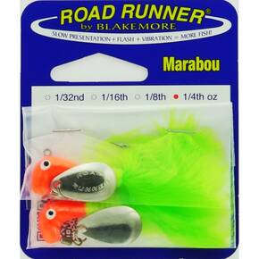 Road Runner Marabou Panfish Jig Lure - 1/4 oz 2pk - fluorescent Red/Chartreuse