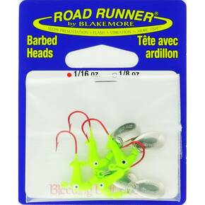 Road Runner Orig Barbed Head Spinner Jighead 1/16 oz 4pk - Chartreuse