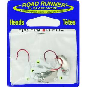 Road Runner Orig Barbed Head Spinner Jighead 1/8 oz 4pk - White