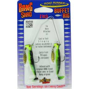 Road Runner Bang Shad Buffet Rig Fly Lure 1/4 oz - Black Chartreuse Glitter