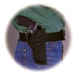 "Uncle Mike's Sidekick Hip Holster for 7"" - 8-1/2"" Barrel medium and large double action revolvers, tie-down loop included in Black Right Hand"