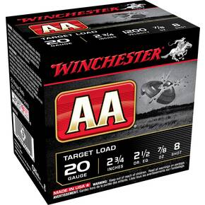 "Winchester AA Target 20 ga 2 3/4"" 2 1/2 dr 1200 fps 7/8 oz #8  - 25/box"