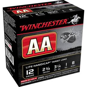 "Winchester AA Target 12 ga 2 3/4""  1 oz #8 1290 fps - 25/box"