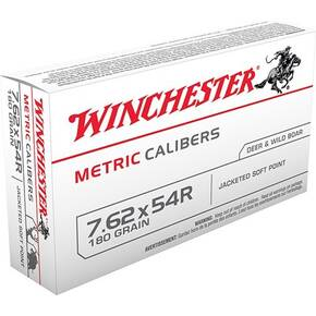 Winchester Metric Caliber Rifle Ammunition 7.62x54R 180 gr SP 2625 fps - 20/box