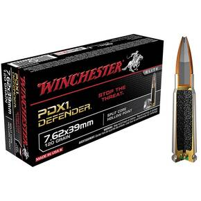 Winchester PDX1 Defender Rifle Ammunition 7.62x39mm 120 gr HP 2365 fps - 20/box