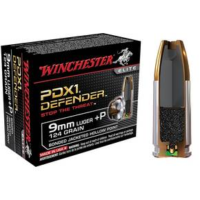 Winchester PDX1 Defender Handgun Ammunition 9mm Luger (+P) 124 gr PDX1  20/box