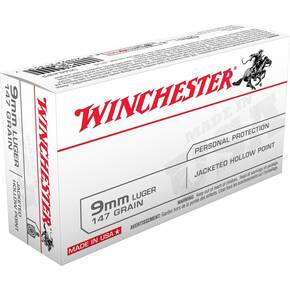 Winchester USA Handgun Ammunition 9mm Luger 147 gr JHP  50/box