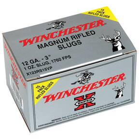 "Winchester Super-X Rifled Slug 12 ga 3""  1 oz Slug 1760 fps - 15/box"