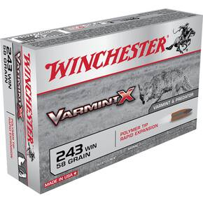 Winchester Varmint X Rifle Ammunition .243 Win 58 gr Poly Tip 3850 fps - 20/box