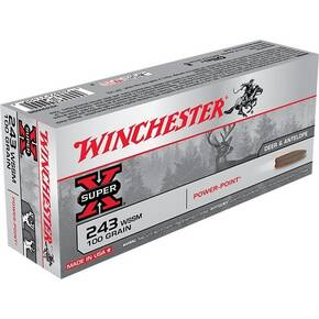 Winchester Super-X Power Point Rifle Ammunition .243 WSSM 100 gr PSP 3110 fps - 20/box