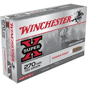 Winchester Super-X Power Point Rifle Ammunition .270 Win 130 gr PSP 3060 fps - 20/box