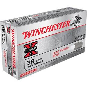 Winchester Super-X Handgun Ammunition .38 S&W 145 gr LRN 685 fps 50/box