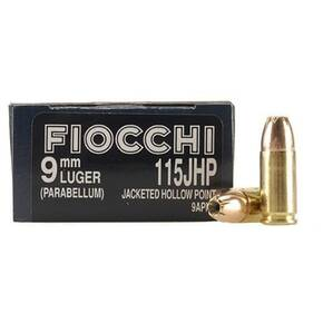 Fiocchi Pistol Shooting Dynamics Handgun Ammunition 9mm Luger 115 gr JHP 1175 fps 50/box