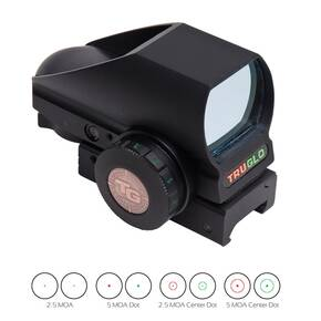 Truglo Tru-Brite Multi-Reticle Dual Color Open Red Dot Sight - 24x34mm Window  Multi-Reticle - Black (Clamshell)