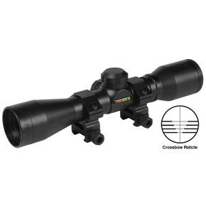 Truglo 4x32mm Compact Crossbow Scope with Weaver Style Rings - Crossbow Reticle Black