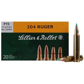 Sellier & Bellot Rifle Ammunition .204 Ruger 32 gr PTS 4125 fps - 20/box