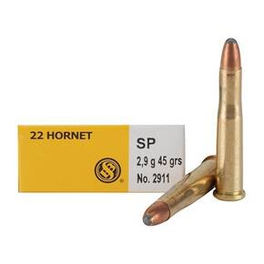 Sellier & Bellot Rifle Ammunition .22 Hornet 45 gr SP 715 fps - 20/box