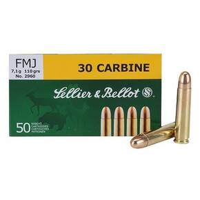 Sellier & Bellot Rifle Ammunition .30 Carbine 110 gr FMJ 1990 fps - 50/box