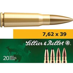 Sellier & Bellot Rifle Ammunition 7.62x39mm 123 gr FMJ 2420 fps - 20/box