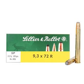 Sellier & Bellot Rifle Ammunition 9.3x72mm 193 gr SP 1950 fps - 20/box