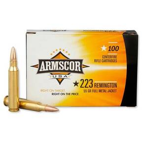 Armscor Rifle Ammunition .223 Rem 55gr FMJ 3050 fps 100/ct