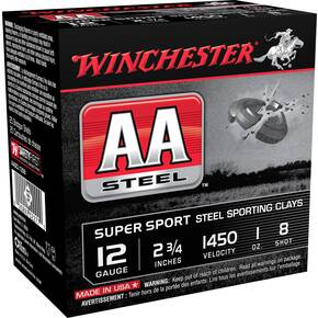 "Winchester AA Steel Target Shotshell Ammunition 12ga 2-3/4"" 1oz 1450 fps #8 25/ct"