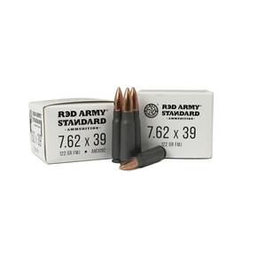 Red Army Lead Core Rifle Ammunition 7.62x39mm 122 gr FMJ 1000/ct
