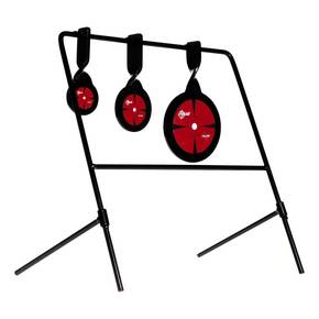 "EZ-Aim Triple Deflector Spinner Target System, Rimfire .22 Cal. & Air Guns 10.75""W x 12.5""H - Black/Red"