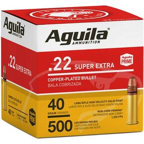 Aguila Super Extra High Velocity Rifle Ammunition .22 LR 40 gr CPSP 1255 fps 500/ct