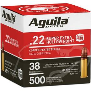 Aguila Super Extra High Velocity Rifle Ammunition .22 LR 38 gr CPHP 1280 fps 500/ct