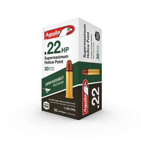 Aguila Super Maximum Rimfire Ammuntion .22 LR 30 gr HP 1700 fps 50/rd