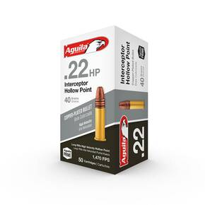 Aguila Interceptor Rimfire Ammunition .22 LR 40 gr HP 1470 fps 50/ct