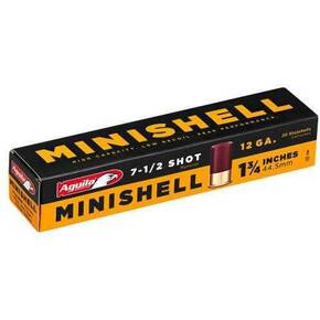 "Aguila Minishell Shotshell 12 ga 1-3/4"" 5/8oz 1200 fps #7.5 20/ct"