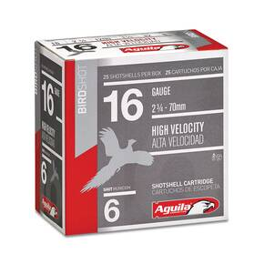 "Aguila High Velocity Shotshells 16 ga 2-3/4"" 1-1/8oz 1240 fps #8 25/ct"