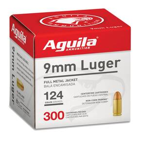 Aguila Handgun Ammuntion 9mm Luger 124 gr FMJ 1115 fps 300/ct