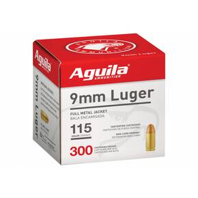 Aguila Handgun Ammuntion 9mm Luger 115 gr FMJ 1150 fps 300/ct