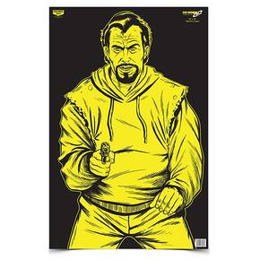 "Birchwood Casey EZE-Scorer 23"" x 35"" BC Bad Guy Black/Yellow - 5/ct Paper Folded"