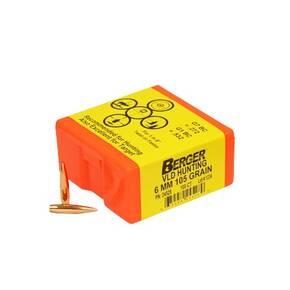 "Berger Match Grade Hunting Bullets 6mm .243"" 105 gr VLD HUNTER 100/box"