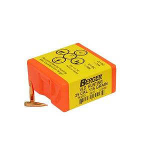 "Berger Match Grade Hunting Bullets .25 cal .257"" 115 gr VLD HUNTER 100/box"