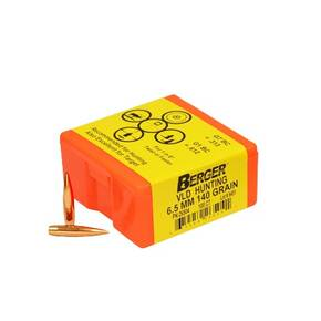 "Berger Match Grade Hunting Bullets 6.5mm .264"" 140 gr VLD HUNTER 100/box"