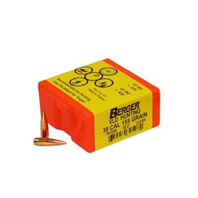 "Berger Match Grade Hunting Bullets .30 cal .308"" 155 gr VLD HUNTER 100/box"