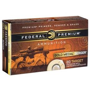 Federal Gold Medal Berger Juggernaut Rifle Ammunition .308 Win 185 gr OTM 2600 fps 20/ct