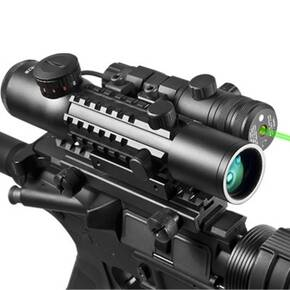 Barska IR Electro Sight & Multi-Rail Laser Combo - 4x28mm Green Laser Illum. Red/Green Mil-Dot Reticle