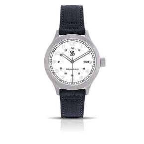 Smith & Bradley Springfield Stainless Steel Watch - White Face Black Nylon Strap