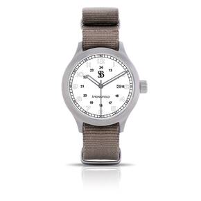 Smith & Bradley Springfield Stainless Steel Watch - White Face Black Nato