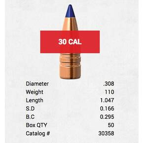 "Barnes M/LE TAC-TX Tactical Bullets .30 cal .308"" 110 gr  50/ct"