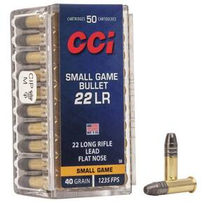 CCI Small Game Bullet Rimfire Ammunition .22 LR 40 gr LFN 1235 fps 50/ct