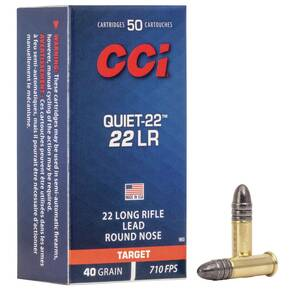 CCI Quiet-22 Rimfire Ammunition .22 LR 40 gr LRN 710 fps 50/ct